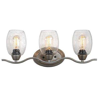 3-Light Soft Gold Vanity Light with Seeded Glass Shade