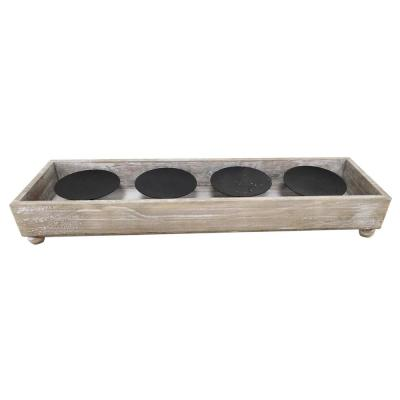 3 in. Wood Outdoor Patio Candle Holder