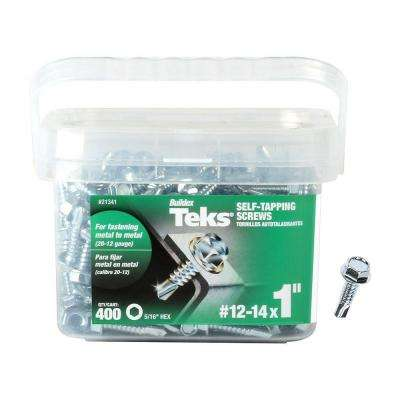 #12-14 x 1 in. Hex Washer Head Drill Point Screw (400-Pack)