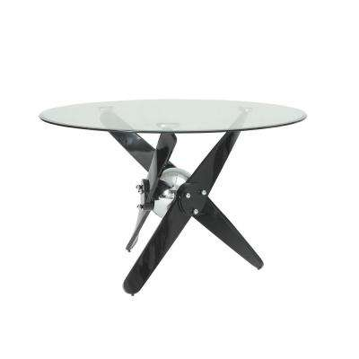 Hagelin Black, Chrome and Clear Glass Dining Table