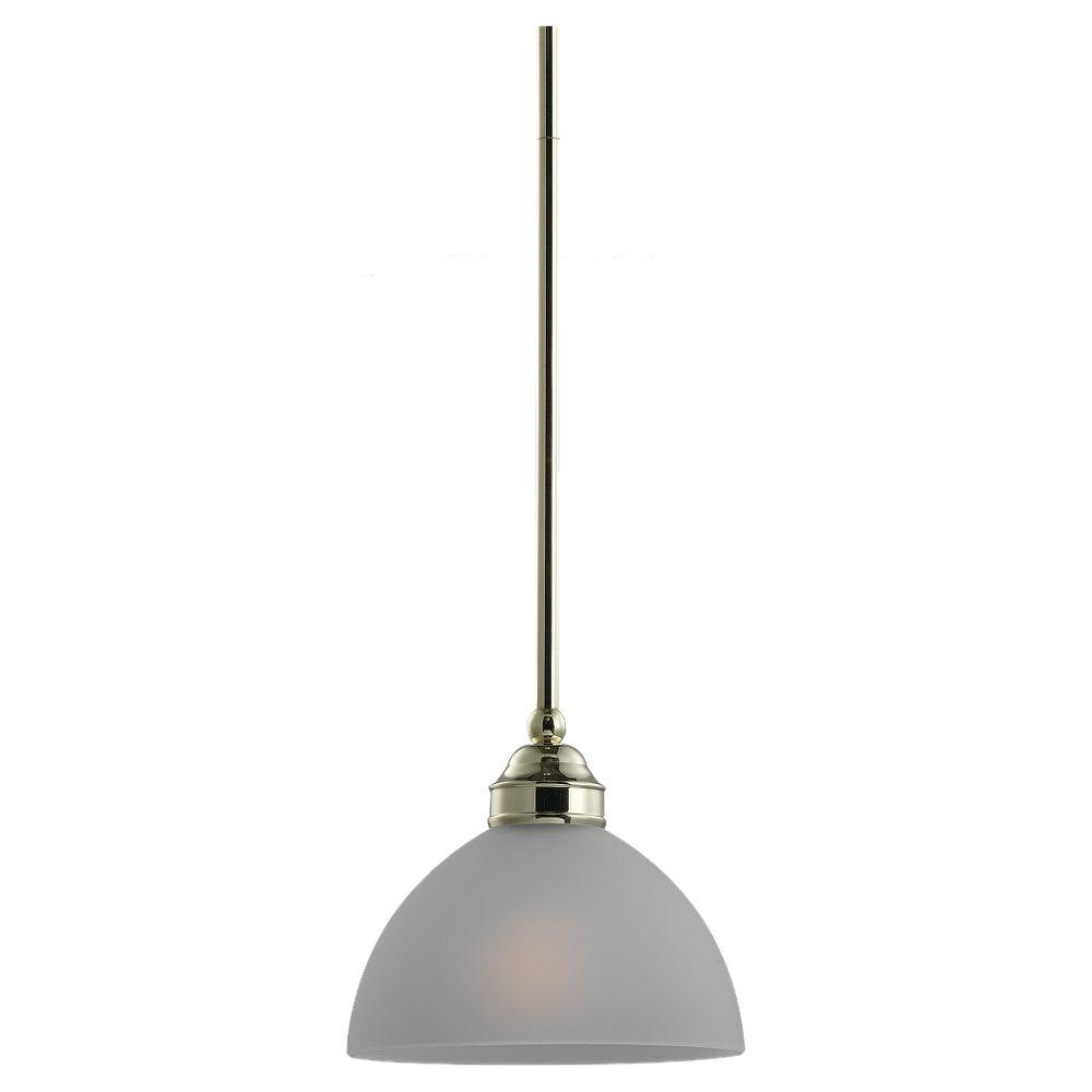 Sea Gull Lighting Linwood 1-Light Polished Brass Mini Pendant