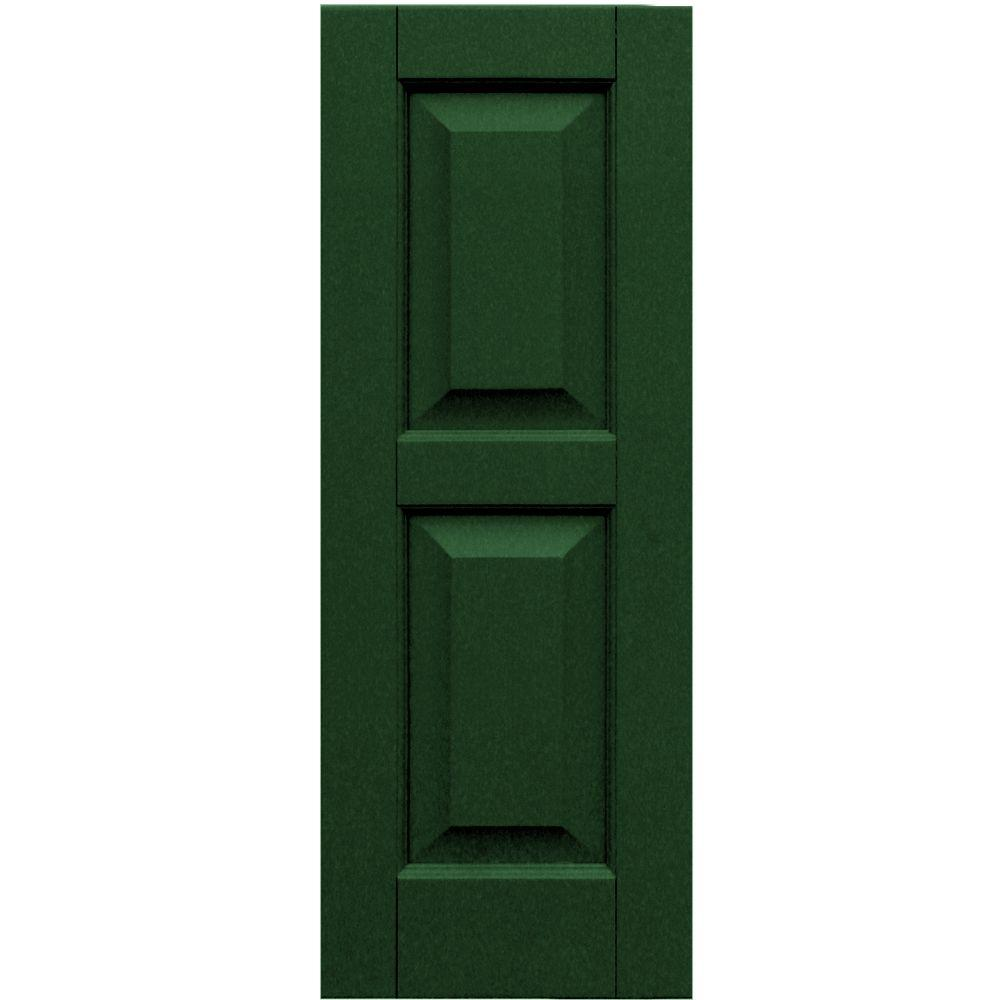 Winworks Wood Composite 12 in. x 32 in. Raised Panel Shutters Pair #656 Rookwood Dark Green
