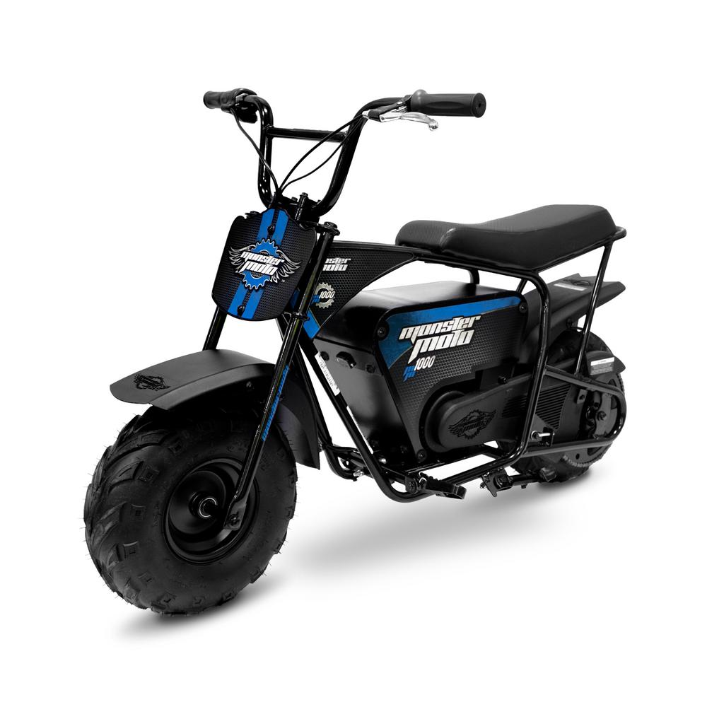 Monster Moto Classic Blue and Black 1000-Watt Electric Mini Bike