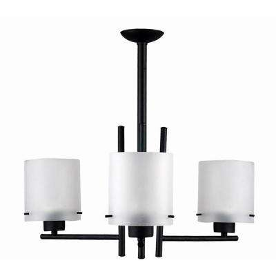 3-Light Black Chandelier with Etched Acid Wash Glass Shade