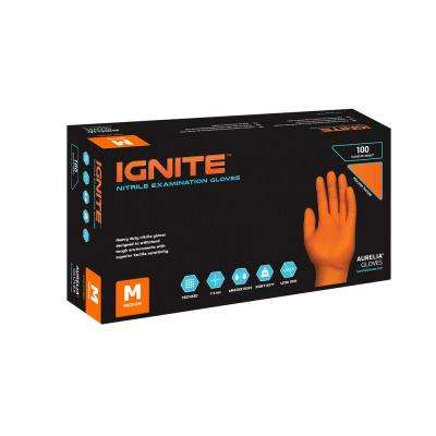 Ignite Medium 7 mil Orange Max-Grip Texture Nitrile Powder-Free Gloves (100 - Count) (Case of 10)
