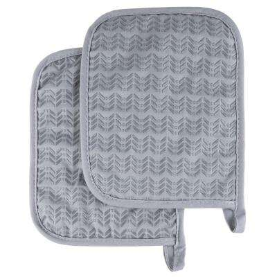 Quilted Silicone Silver Heat Resistant Pot Holder Set (2-Pack)