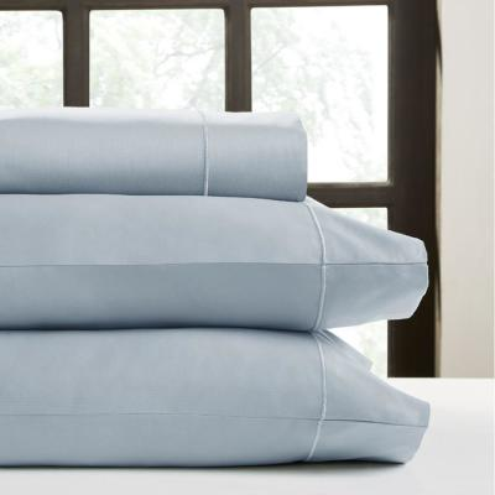 4-Piece Light Blue Solid 300 Thread Count Cotton Queen Sheet Set