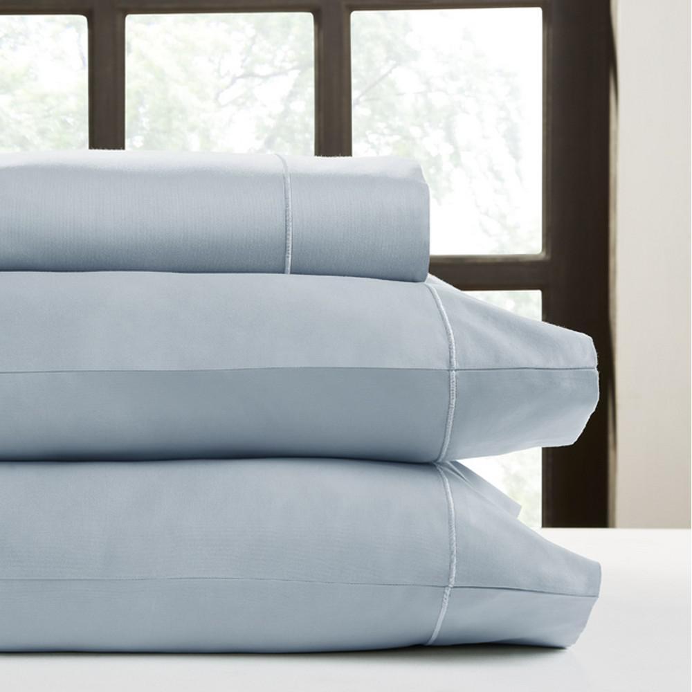 4-Piece Light Blue Solid 450 Thread Count Cotton Queen Sheet Set