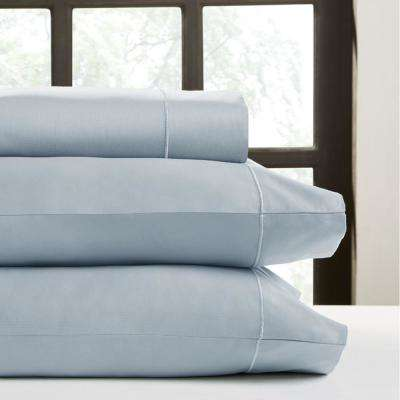 Light Blue T500 Solid Combed Cotton Sateen Queen Sheet Set