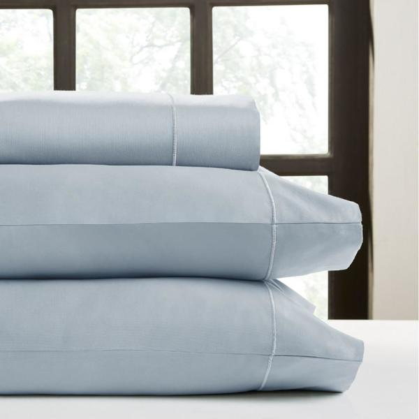 PERTHSHIRE Light Blue Solid Combed Cotton Sateen King Sheet Set T820K-PL-LBL