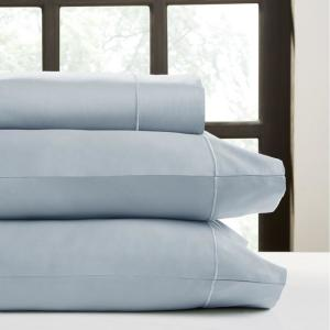 Perthshire 4 Piece Light Blue Solid 350 Thread Count Cotton Full Sheet Set T350f Pl Lbl The Home Depot