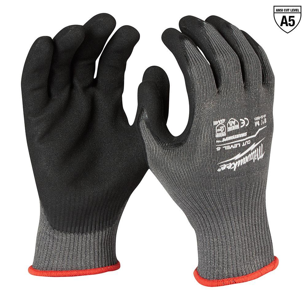 Medium Gray Nitrile Dipped Cut 5 Resistant Work Gloves