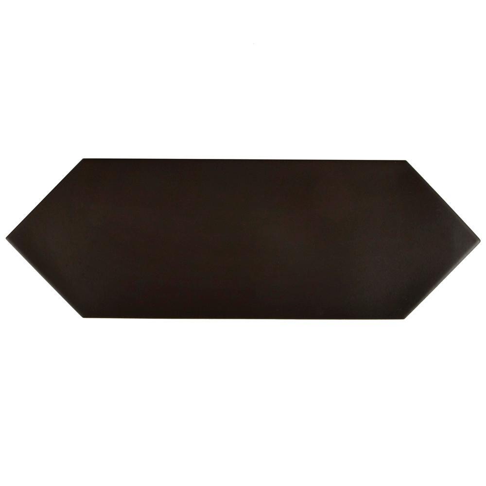 Merola Tile Kite Black 4 in. x 11-3/4 in. Porcelain Floor and Wall Tile (11.81 sq. ft. / case)