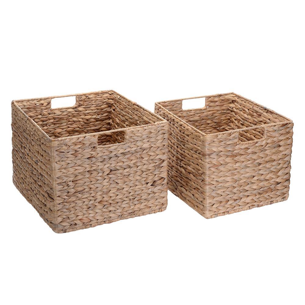 Villacera Natural Handmade Water Hyacinth Wicker Rectangular Nesting Baskets (2-Pack)