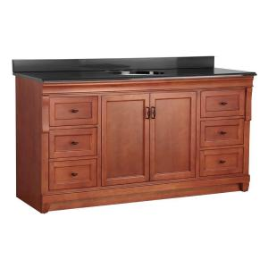 Foremost Naples 61 inch W x 22 inch D Vanity in Warm Cinnamon with Colorpoint Vanity Top... by Foremost