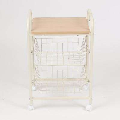 Natural 3-Tier Kitchen Trolley