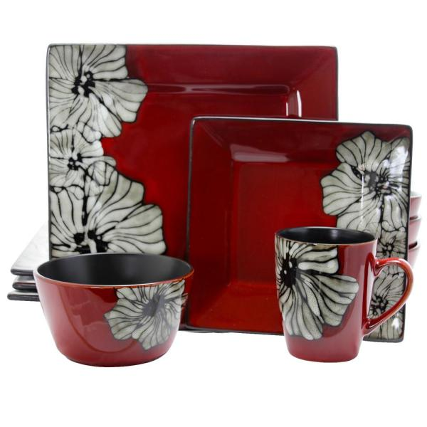 Elama Winter Bloom 16-Piece Red Floral Square Dinnerware Set 985110051M