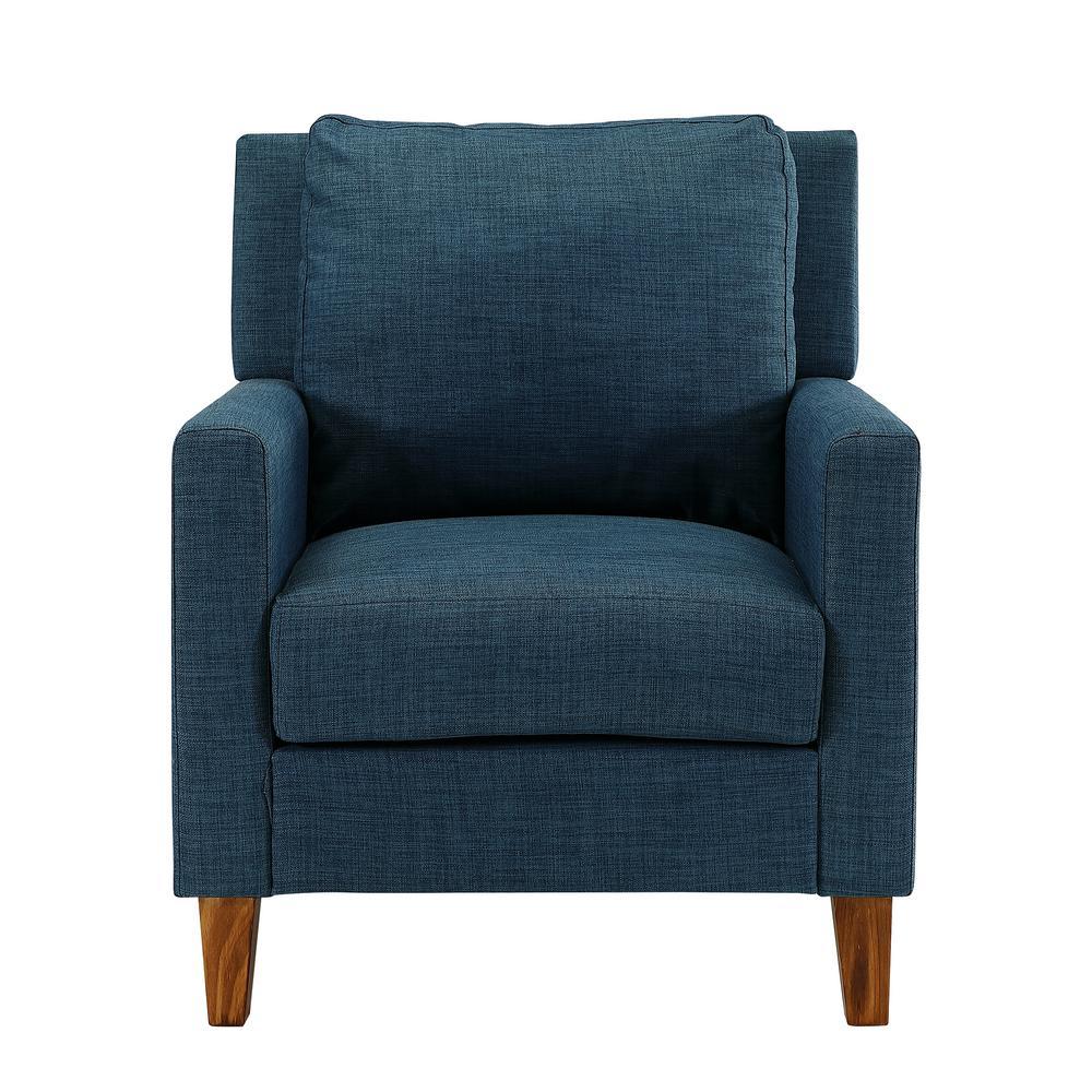 Blue pillow back accent chair