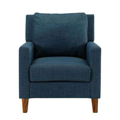 Blue Pillow Back Accent Chair