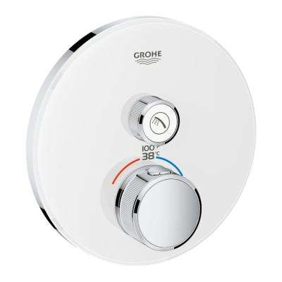 Grohtherm Smart Control Single Function Round Thermostatic Trim with Control Module in Moon White