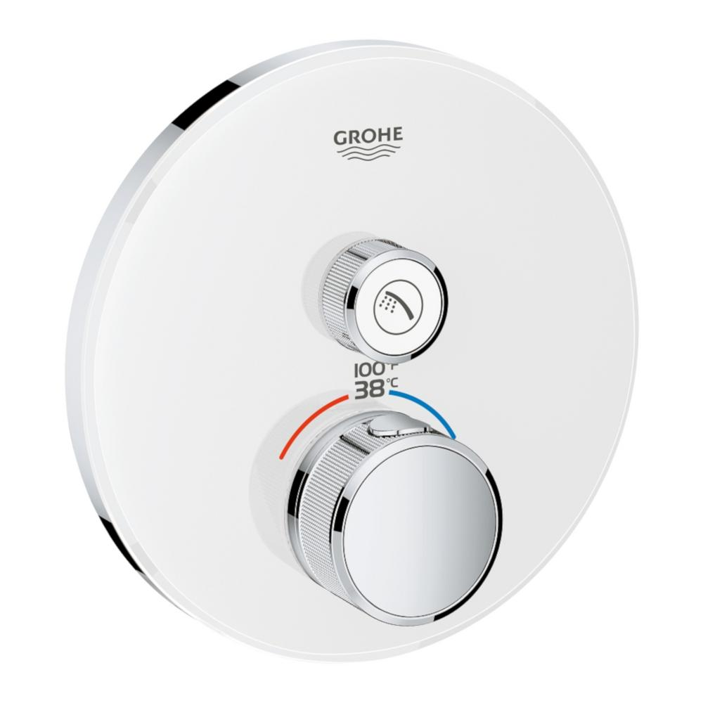 GROHE GROHE Grohtherm Smart Control Single Function Round Thermostatic Trim with Control Module in Moon White