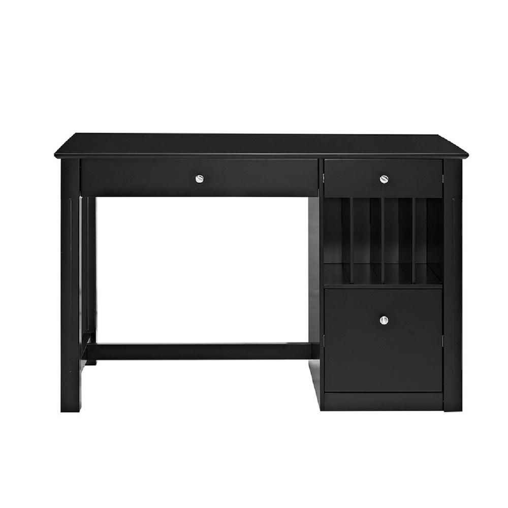 Walker Edison Furniture Company Home Office Deluxe Black Wood Storage Computer Desk