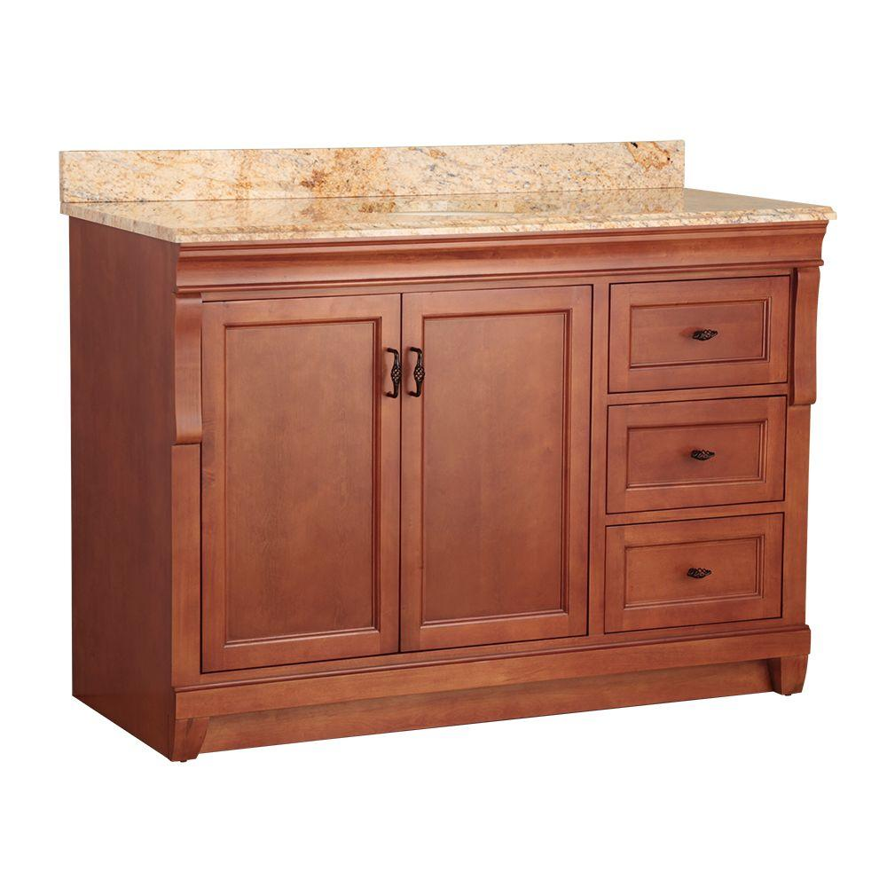 Home Decorators Collection Naples 49 in. W x 22 in. D Bath Vanity in Warm Cinnamon with Right Drawers with Stone Effects Vanity Top in Tuscan Sun