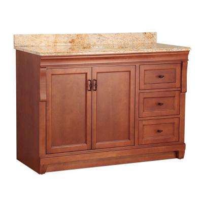 Naples 49 in. W x 22 in. D Bath Vanity in Warm Cinnamon with Right Drawers with Stone Effects Vanity Top in Tuscan Sun