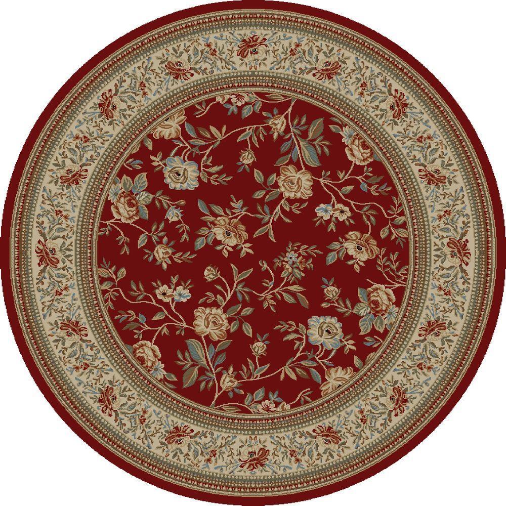 Ankara Floral Garden Red 7 ft. 10 in. Round Area Rug