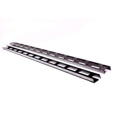 3 in. x 1.5 in. x 92 in. Black Aluminum Vertical Fence Stringer kit. Includes 2 stringers, 4 brackets and all fasteners