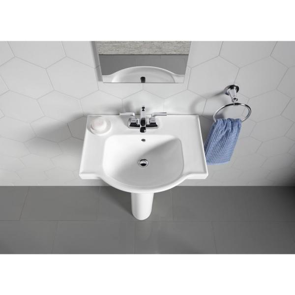 Kohler Veer 24 In Vitreous China Pedestal Combo Bathroom Sink In White With Overflow Drain K 5266 4 0 The Home Depot