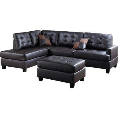 Genoa 3-Piece Sectional Sofa in Espresso Leatherette with Ottoman