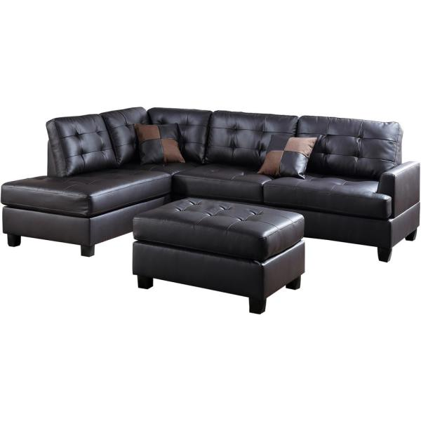 Genoa Espresso Faux Leather 6-Seater L-Shaped Sectional Sofa with Ottoman