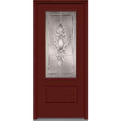 36 in. x 80 in. Heirlooms Left-Hand Inswing 3/4-Lite Decorative Painted Fiberglass Smooth Prehung Front Door