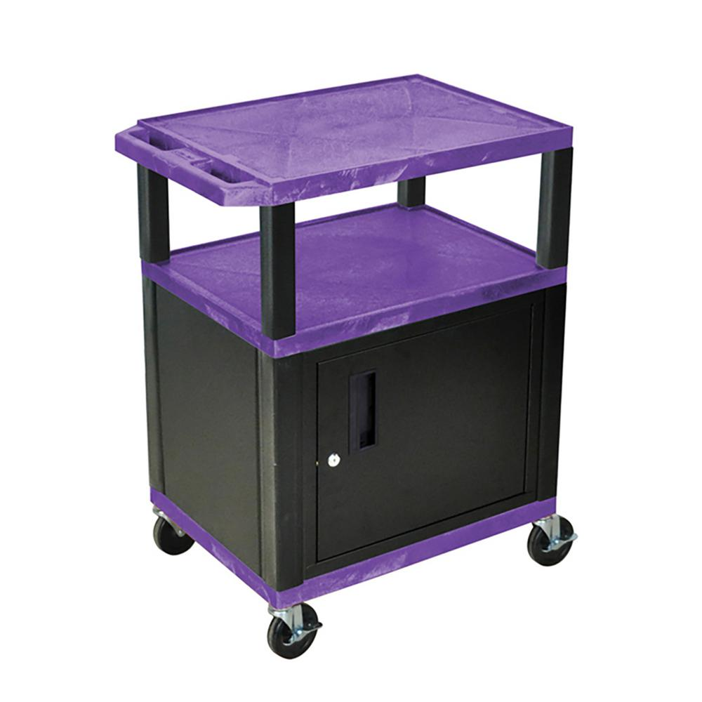 WT 34 ft. H 3 Shelf Cart With Black Cabinet, Purple