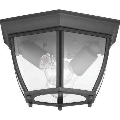 New Haven 2-Light Black Outdoor Flushmount