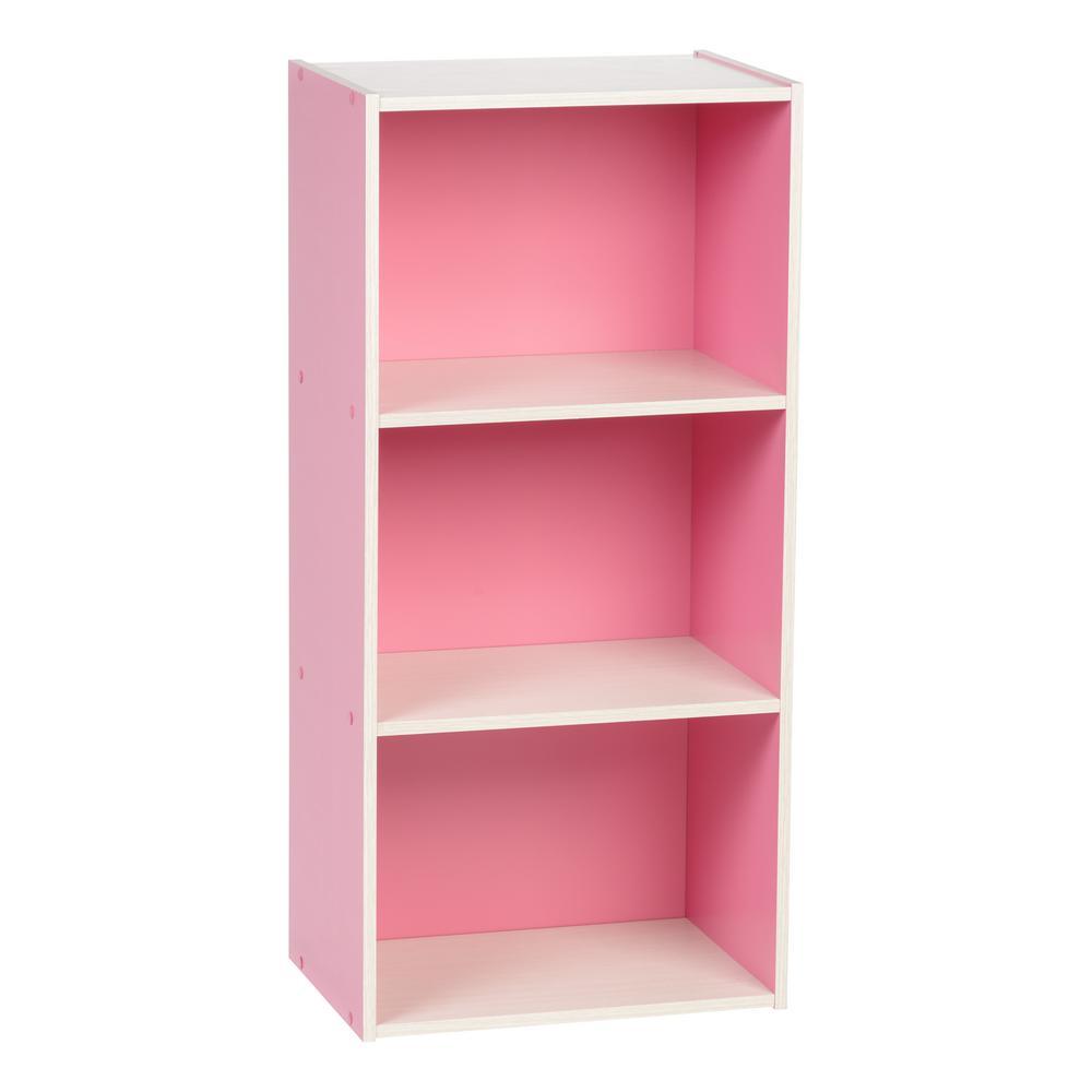 Pink 3-Tier Wood Storage Shelf