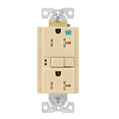 GFCI Self-Test 20A -125V Tamper and Weather Resistant Duplex Receptacle with Standard Size Wallplate, Ivory