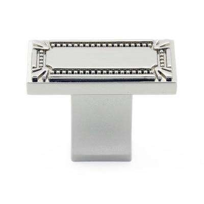 Traditional 1-11/16 in. x 7/8 in. (43 mm x 22 mm) Polished nickel Rectangular Cabinet Knob