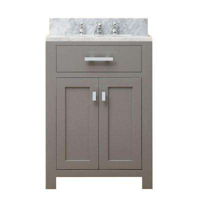 24 in. W x 21 in. D Vanity in Cashmere Grey with Marble Vanity Top in Carrara White and Chrome Faucet