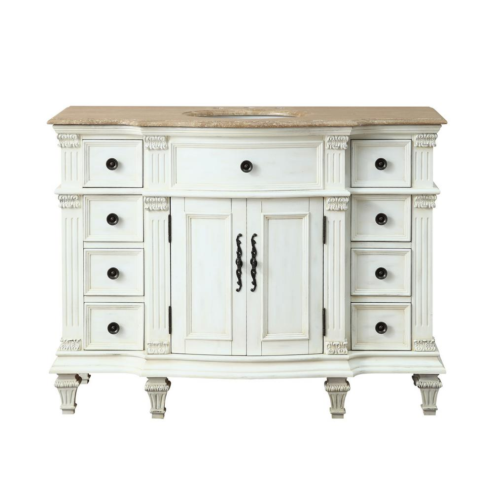 Silkroad Exclusive 48 in. W x 22 in. D Vanity in Antique White with - Silkroad Exclusive 48 In. W X 22 In. D Vanity In Antique White With