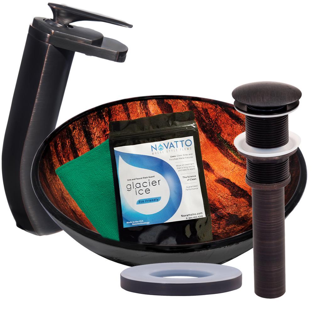 Novatto MIMETICA Glass Vessel Bathroom Sink Set, Oil Rubbed Bronze