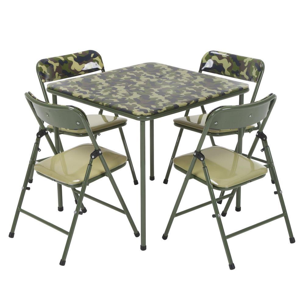 59 Table And Chair Set Walmart Cosco 5 Piece Folding: Cosco Kids 5-Piece Camo Vinyl Set With Green Frame