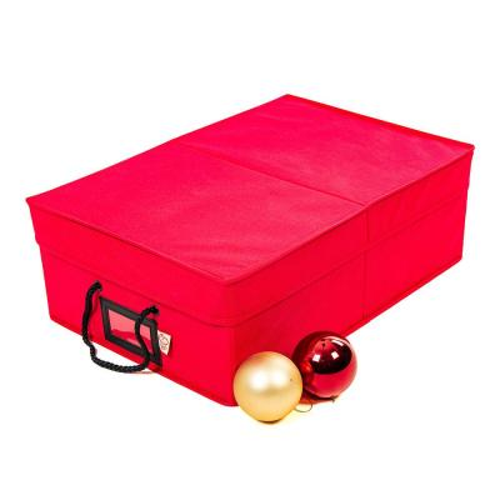 2-Tray Ornament Storage Box - Red