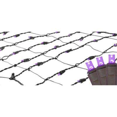 2 ft. x 8 ft. Purple LED Net Style Tree Trunk Wrap Christmas Lights with Brown Wire