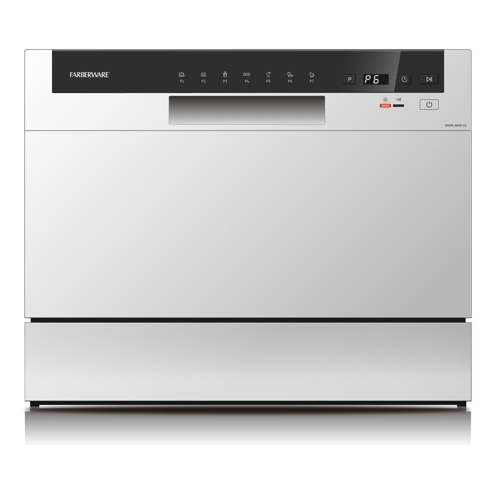 Professional Countertop Portable Dishwasher in White With 6-Place Settings Capacity