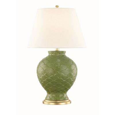 Demi 25.25 in. High Sage Table Lamp with Off White Linen Shade