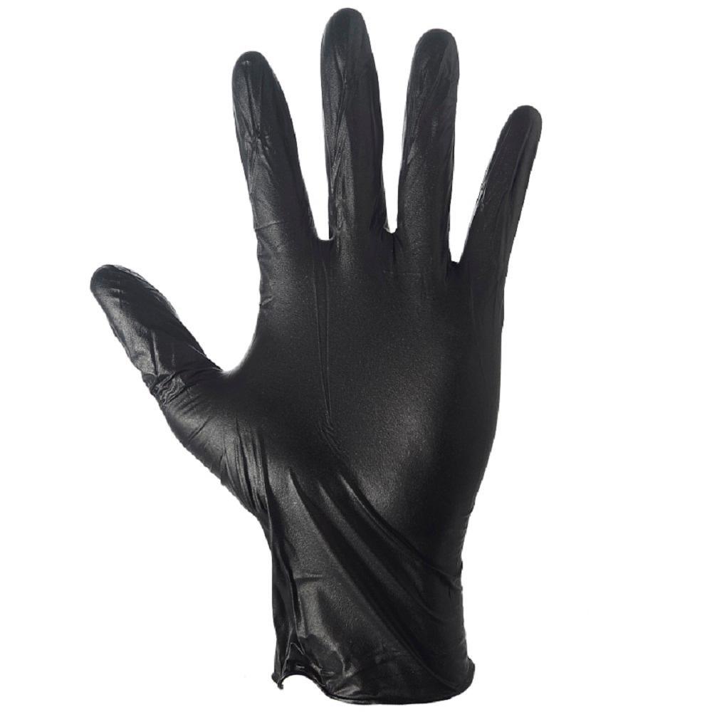 Extra-Large Black Nitrile Disposable Gloves (100-Box)