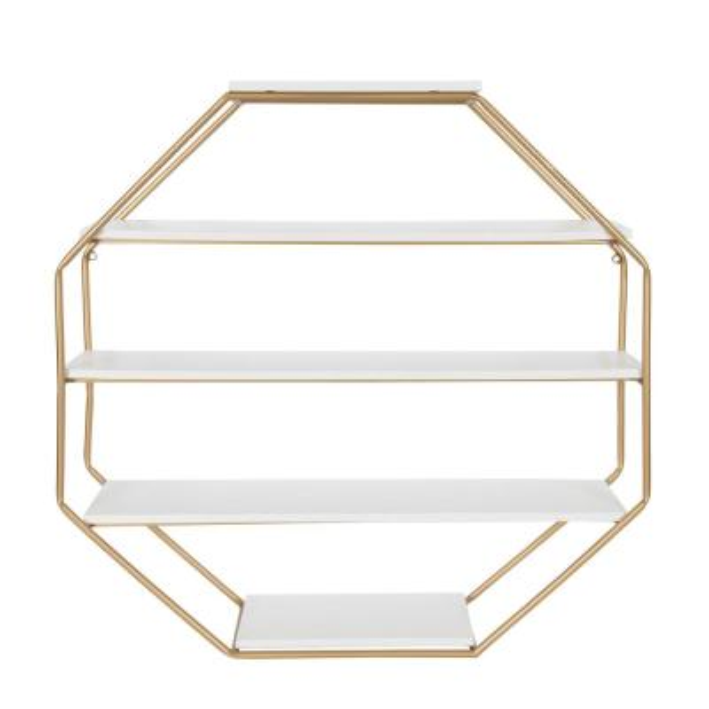 Lintz 7 in. x 31 in. x 31 in. White/Gold MDF Decorative Wall Shelf