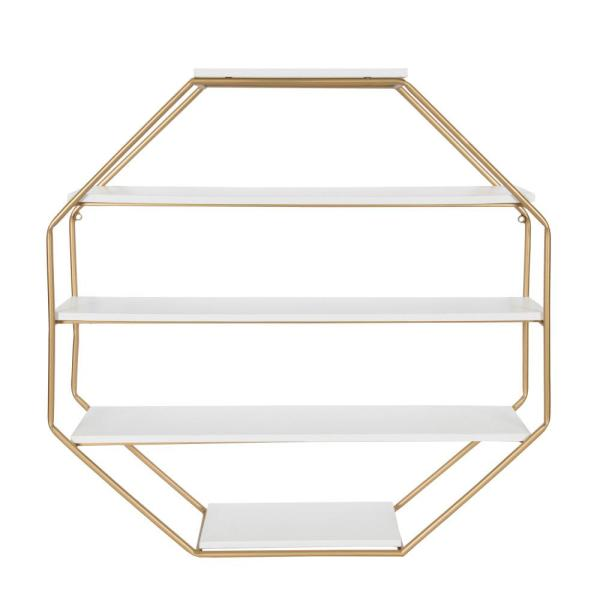 Kate and Laurel Lintz 7 in. x 31 in. x 31 in. White/Gold MDF Decorative Wall Shelf